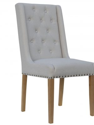 Kensington Button Wing Back Natural Cream Fabric Dining Chair
