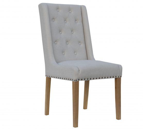 Kensington Natural Herringbone Button Back dining chair