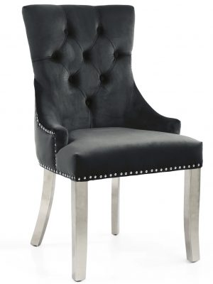 Chester Brushed Black Velvet Fabric Dining Chair - Stainless Steel Legs