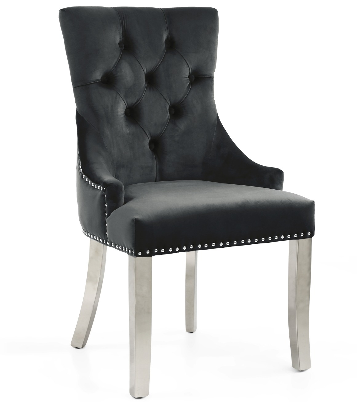 Chester Black velvet dining chair with steel legs