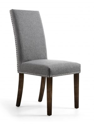 Bella Steel Linen Fabric Dining Chair With Walnut Legs