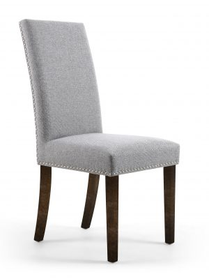 Bella Silver Linen Fabric Dining Chair With Walnut Legs