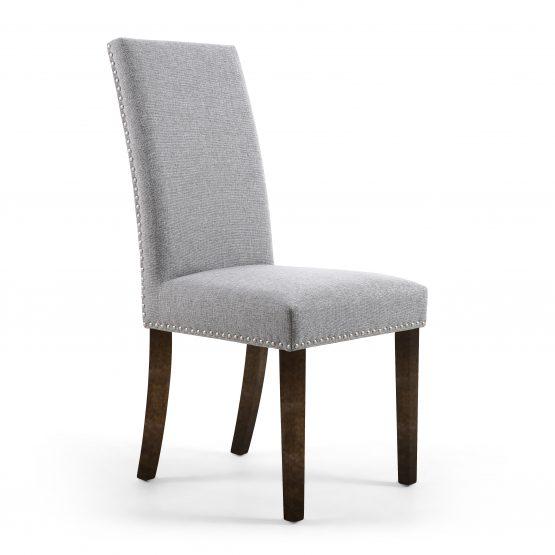 light grey fabric dining chair with walnut legs