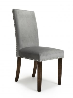 Bella Brushed Grey Velvet Fabric Dining Chair With Walnut Legs