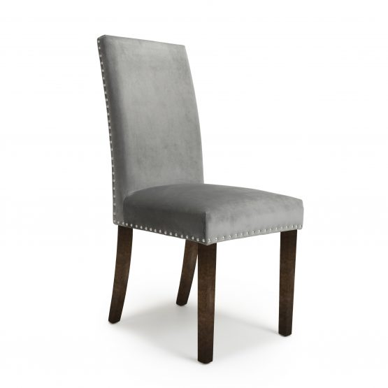 grey velvet dining chair with walnut legs