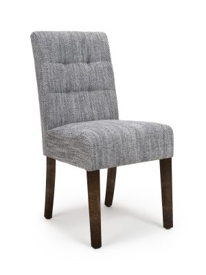 Abby Grey Tweed Fabric Dining Chair With Walnut Legs