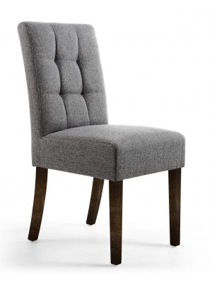 Abby Steel Grey Linen Fabric Dining Chair With Walnut Legs