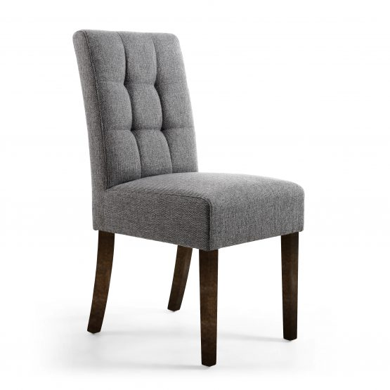 Abby Steel Grey linen dining chair with walnut legs