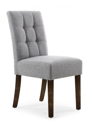 Abby Silver Grey Linen Fabric Dining Chair With Walnut Legs