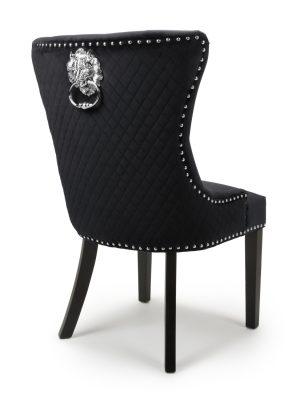 Lion Head Black Velvet Dining Chair - Black Legs