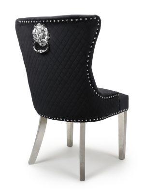 Lion Head Black Velvet Dining Chair - Stainless Steel Legs