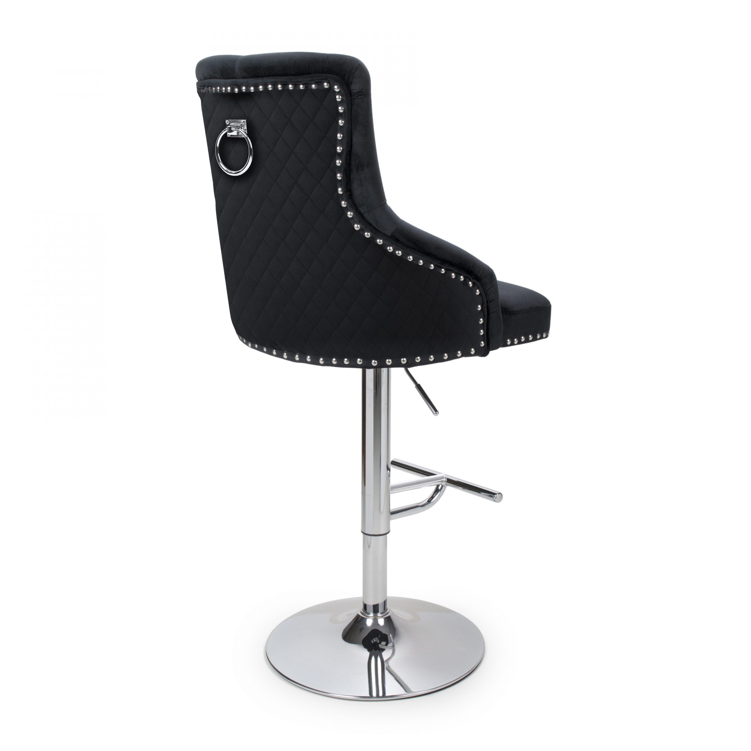 Sirocco Black velvet quilted back bar stool