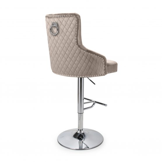 Sirocco Mink velvet quilted back bar stool