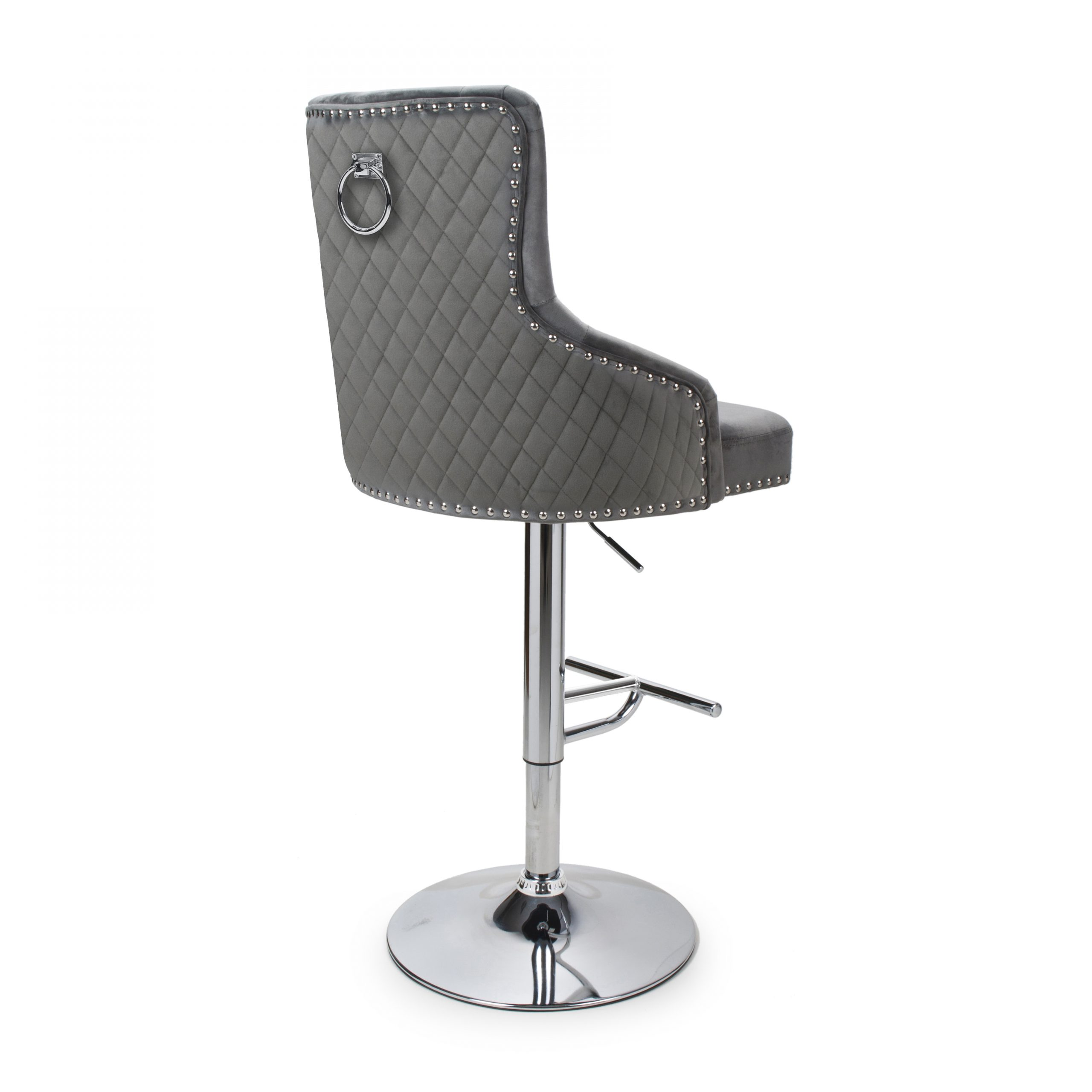 Sirocco grey velvet quilted bar stool