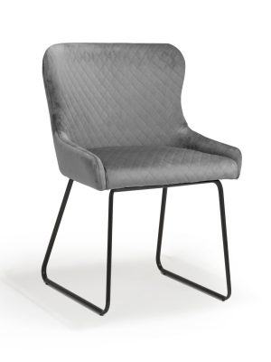 Geneva Grey Velvet Brushed Velvet Contemporary Dining Chair