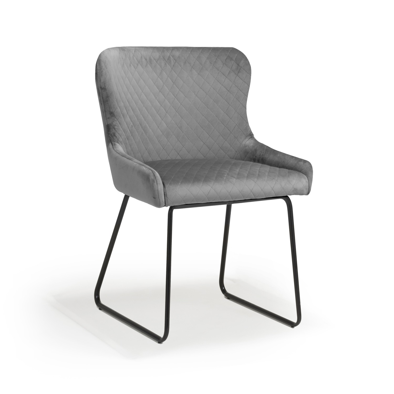 Geneva Grey Velvet modern dining chair