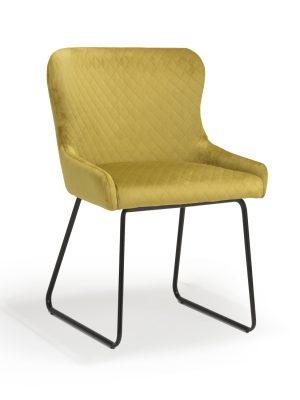 Geneva Mustard Yellow Brushed Velvet Contemporary Dining Chair