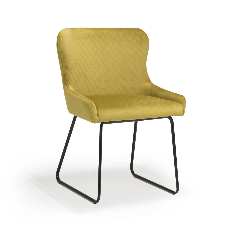 Geneva mustard yellow velvet dining chair