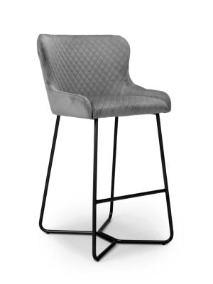 Geneva Grey Brushed Velvet Contemporary Bar Stool