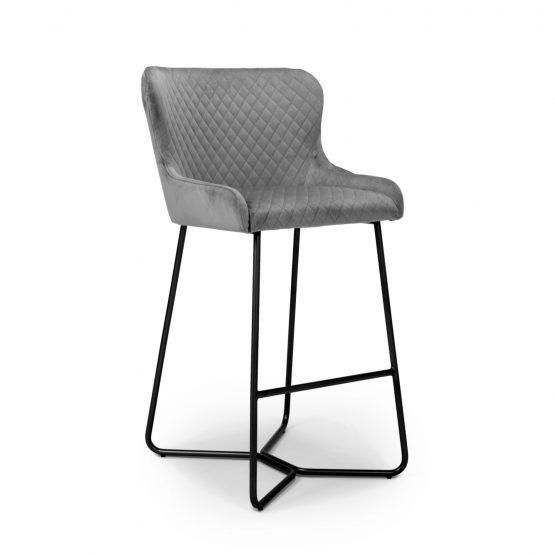 Geneva industrial grey velvet bar stools