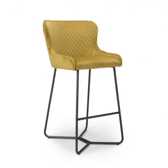Geneva mustard yellow velvet bar stool