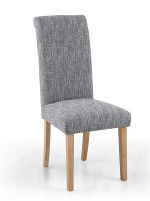 Bexley Light Grey Linen Weave Roll Top Fabric Dining Chair