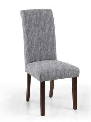 Bexley Light Grey Linen Weave Roll Top Fabric Dining Chair Walnut Legs