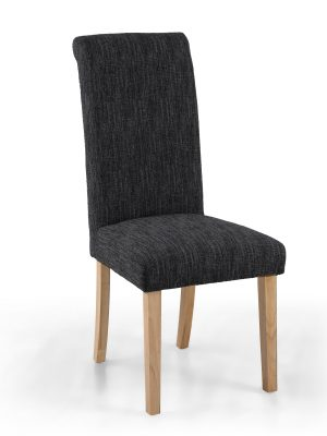Bexley Dark Grey Linen Weave Roll Top Fabric Dining Chair