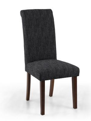 Bexley Dark Grey Linen Weave Roll Top Fabric Dining Chair Walnut Legs
