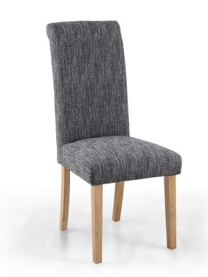 Bexley Medium Grey Linen Weave Roll Top Fabric Dining Chair