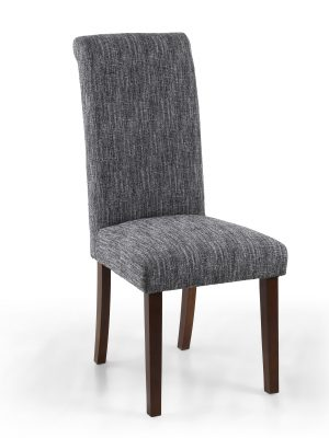 Bexley Medium Grey Linen Weave Roll Top Fabric Dining Chair Walnut Legs