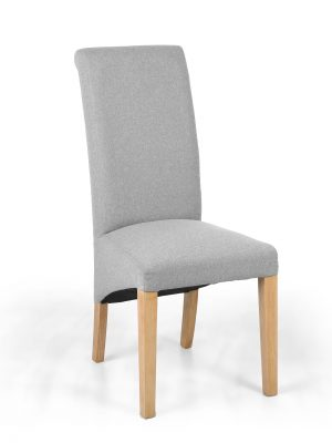 Carrie Light Grey Roll Top Fabric Dining Chair