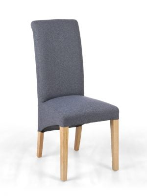 Carrie Dark Grey Roll Top Fabric Dining Chair