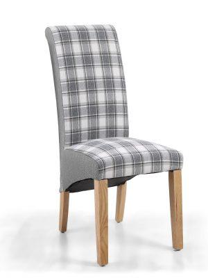 Krista Herringbone Grey & Cappuccino Tartan Fabric Dining Chair Split Fabrics