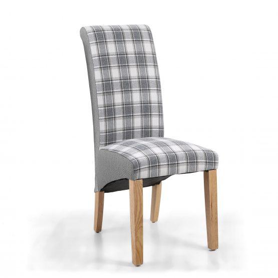 Krista Tartan and plain fabric dining chair