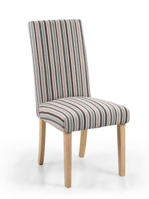 Ripley Grey & Brown Stripe Fabric Dining Chair
