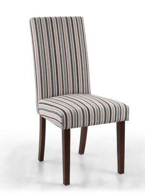 Ripley Grey & Brown Stripe Fabric Dining Chair - Walnut Legs
