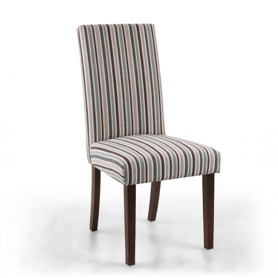 Ripley grey stripe dining chair with walnut legs