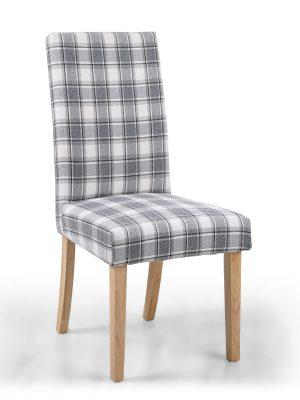 Ripley Herringbone Cappuccino Tartan Fabric Dining Chair
