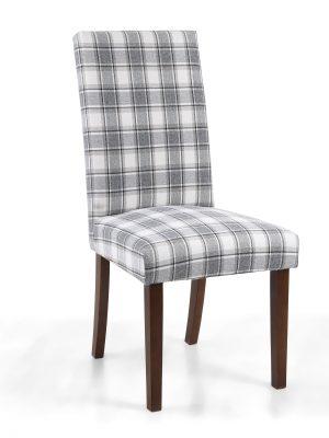 Ripley Herringbone Cappuccino Tartan Fabric Dining Chair - Walnut Legs