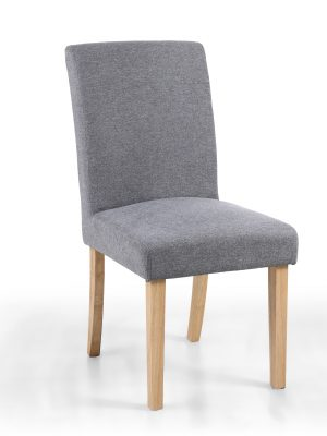 London Low Back Light Grey Linen Fabric Dining Chair