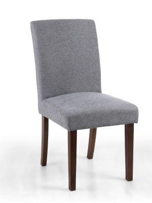 London Low Back Light Grey Linen Fabric Dining Chair - Walnut Legs