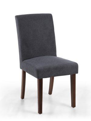 London Low Back Dark Grey Linen Fabric Dining Chair - Walnut Legs