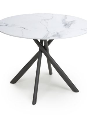 Madison Light Grey Round Marble Dining Table