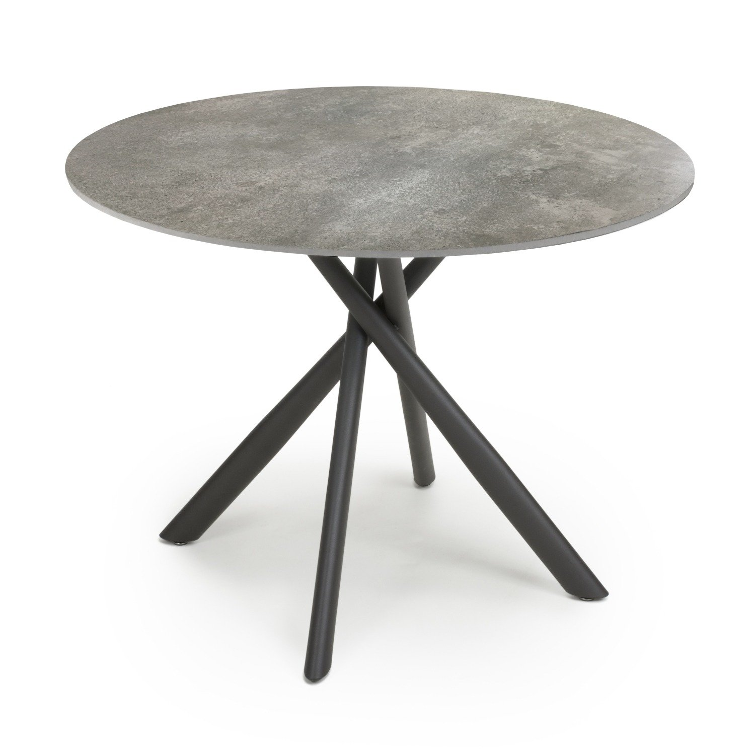 Madison Modern Round Marble Industrial Dining Table