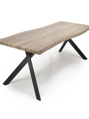 Alaska Large Shaped Plank Top Contemporary Industrial Dining Table