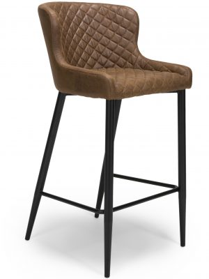 Harley Quilted Vintage Brown Leather Bar Stool