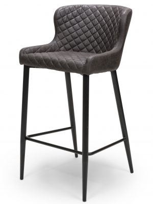 Harley Quilted Vintage Grey Leather Bar Stool
