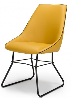 Hooper Mustard Yellow Leather Contemporary Dining Chair