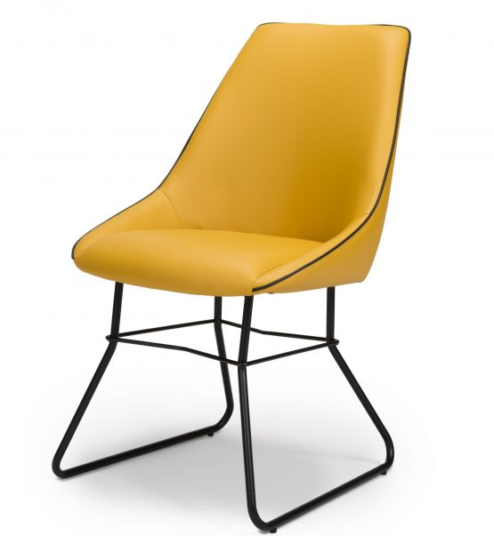 Hooper Mustard yellow leather dining chair